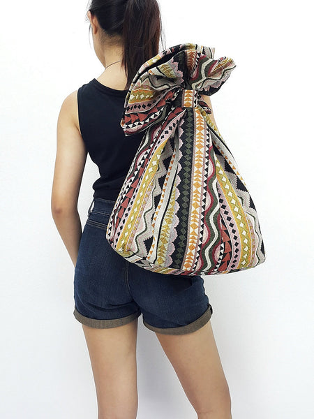 Woven Cotton Bag Single straps Backpack Hobo Boho bag Shoulder School Bag (WF62), VeradaShop, HaremPantsThai