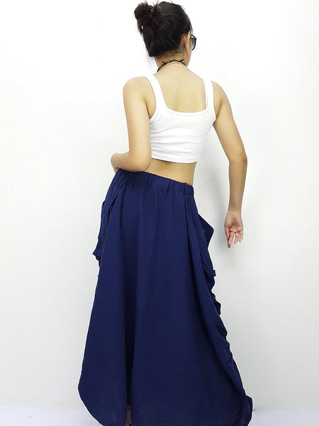 ST402 Cotton Long Skirts Luxury Maxi Skirts Dark Blue, NaughtyGirl, HaremPantsThai