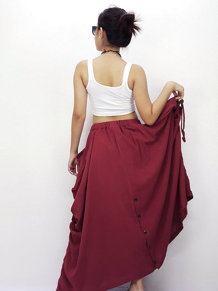 SPT474 Thai Women Cotton Clothing Long Skirts Natural Luxury Light Red, NaughtyGirl, HaremPantsThai