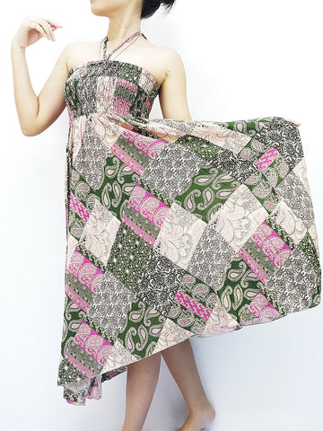 Thai Women Clothing Natural Cotton Convertible Dresses Skirts Patchwork Pink Green (DS70)