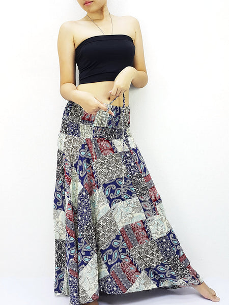 Thai Women Clothing Natural Cotton Convertible Dresses Skirts Patchwork Blue Red (DS71)