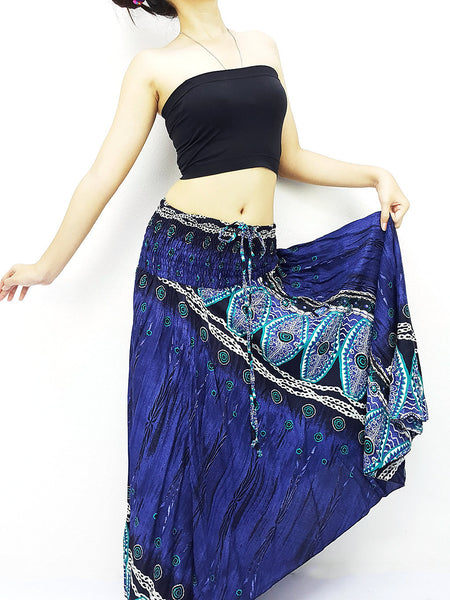 Thai Women Clothing Natural Cotton Convertible Dresses Skirts Navy Blue (DS78)