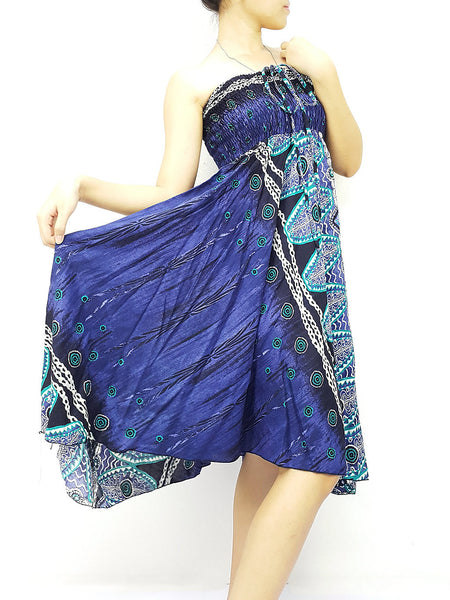 Natural Cotton Convertible Dresses Skirts Navy Blue (DS78), NaughtyGirl, HaremPantsThai