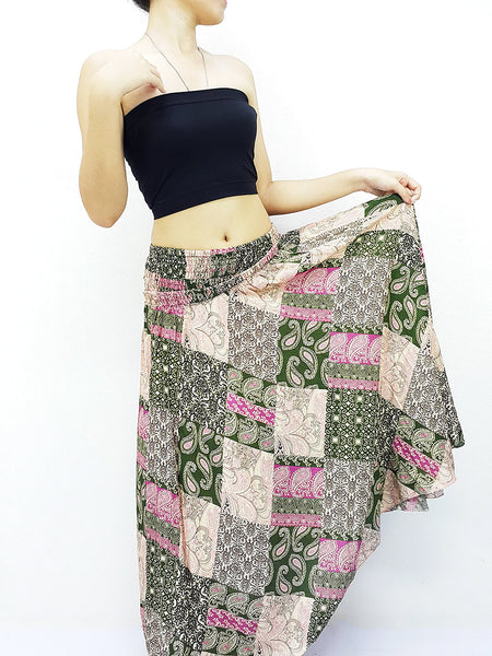Natural Cotton Convertible Dresses Skirts Patchwork Pink Green (DS70), NaughtyGirl, HaremPantsThai