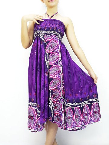 Thai Women Clothing Natural Cotton Convertible Dresses Skirts Purple (DS75)