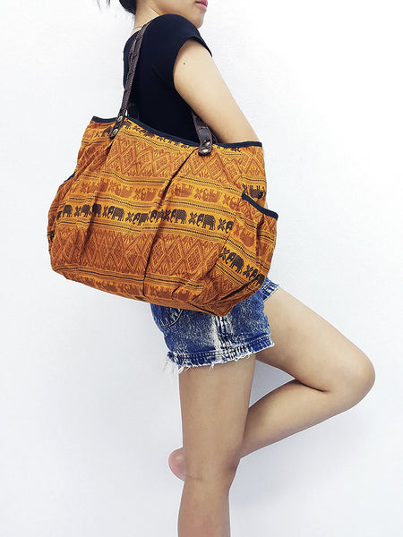 Cotton Handbags Elephant bag Hippie bag Hobo Boho bag Shoulder bag Tote bag Mustard Yellow, VeradaShop, HaremPantsThai