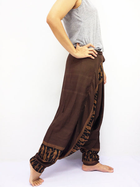 LRH3 Thai Women Clothing Harem Pants Drop Crotch Comfy Rayon Bohemian Hippie Baggy Genie Boho Pants Brown, Pants, NaughtyGirl, HaremPantsThai