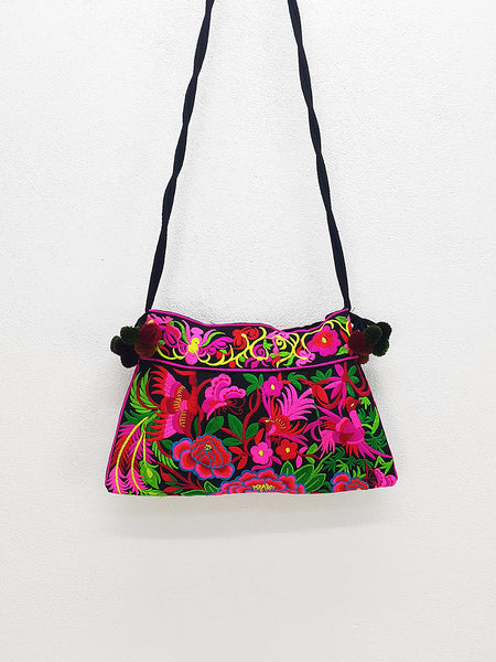 Thai Hill Tribe Bag Pom Pom Hmong Thai Bag Embroidered Ethnic Purse Woven Bag Hippie Bag Clutch Sling Bag Crossbody Bag Flower Bird Black