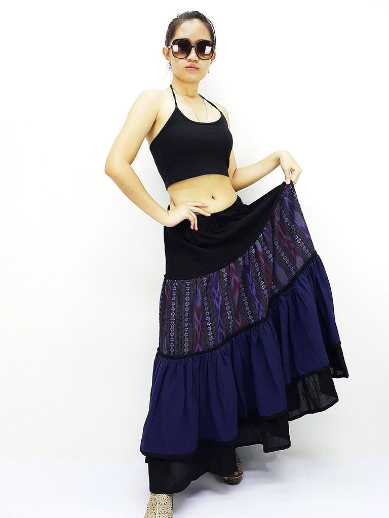 ST507 Thai Women Cotton Clothing Long Skirts Natural Luxury Navy Blue