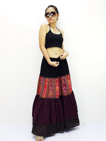 ST507 Thai Women Cotton Clothing Long Skirts Natural Luxury Maroon