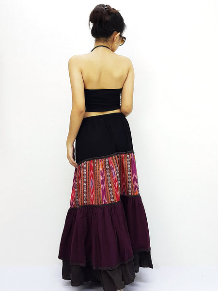 ST507 Thai Women Cotton Clothing Long Skirts Natural Luxury Maroon, NaughtyGirl, HaremPantsThai