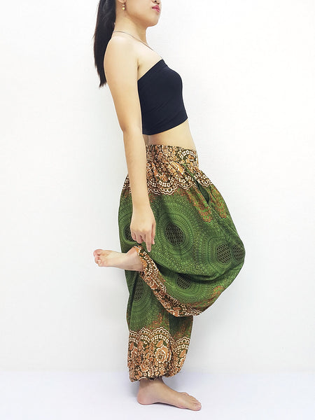 SRT@6 Thai Women Clothing Comfy Rayon Bohemian Trousers Hippie Baggy Genie Boho Pants Green
