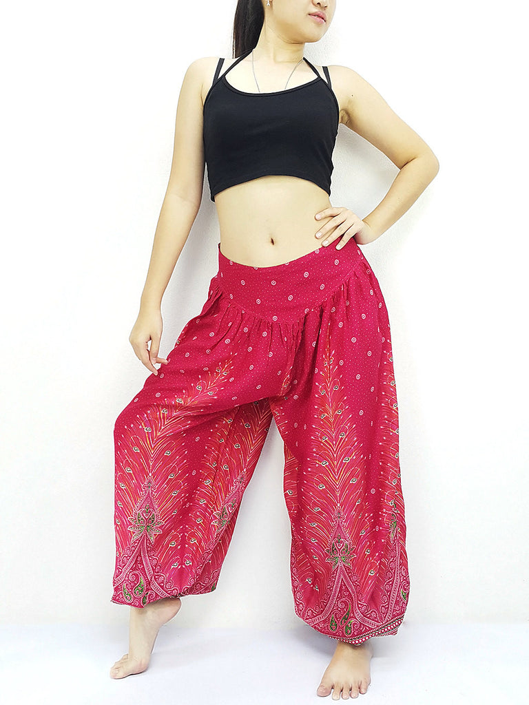 SRT@7 Thai Women Clothing Comfy Rayon Bohemian Trousers Hippie Baggy Genie Boho Pants Hot Pink