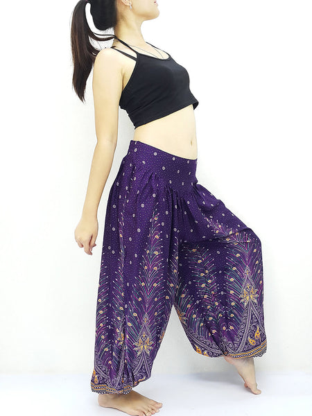 SRT@8 Thai Women Clothing Comfy Rayon Bohemian Trousers Hippie Baggy Genie Boho Pants Purple Violet