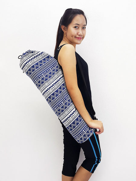 Yoga Mat Bag Yoga Bag Sports Bags Tote Yoga Sling bag Pilates Bag Pilates Mat Bag Woven Cotton bag Navy Blue (WF70)