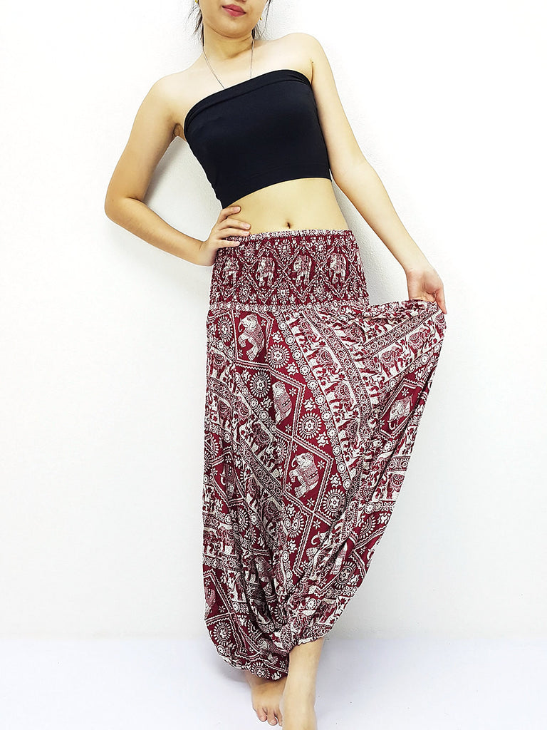 Handmade Harem Pants Yoga Pants Aladdin Pants Boho Pants Gypsy Jumpsuits Boho Pants Elephant Red (HP185)