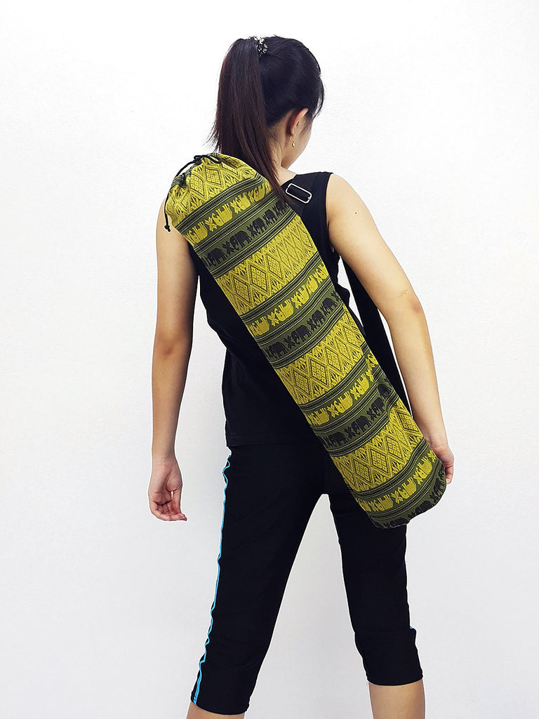 Handmade Yoga Mat Bag Yoga Bag Sports Bags Tote Yoga Sling bag Pilates Bag Pilates Mat Bag Thai Cotton Yoga Bag Women bag Elephant bag Green
