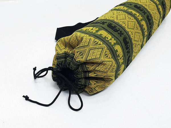 Thai Handmade Woven Yoga Mat Bag Sports Bags Pilates Mat Bag Thai Elephant Green, VeradaShop, HaremPantsThai