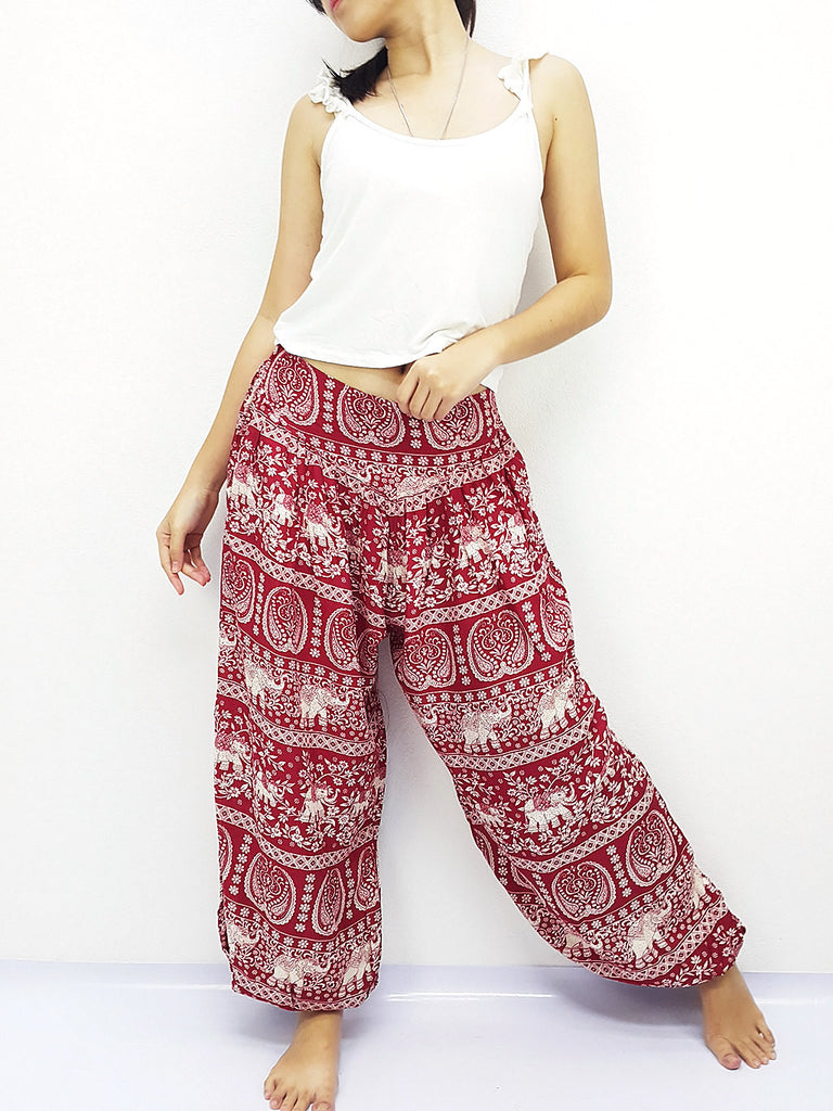 SRT@19 Thai Women Clothing Comfy Rayon Bohemian Trousers Hippie Baggy Genie Boho Pants Elephant Red