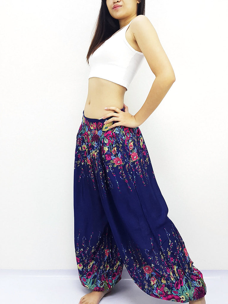 SRT@23 Thai Women Clothing Comfy Rayon Bohemian Trousers Hippie Baggy Genie Boho Pants Flower Naby Blue