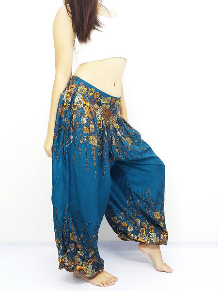 SRT@24 Thai Women Clothing Comfy Rayon Bohemian Trousers Hippie Baggy Genie Boho Pants Flower Teal Green