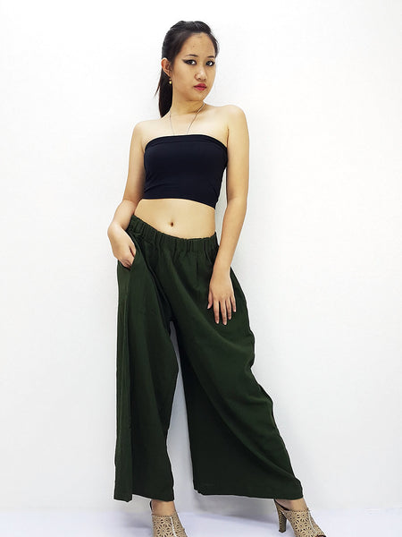 PT486 Thai Women Clothing Natural Cotton Trousers Comfy Luxury Wide Leg Green
