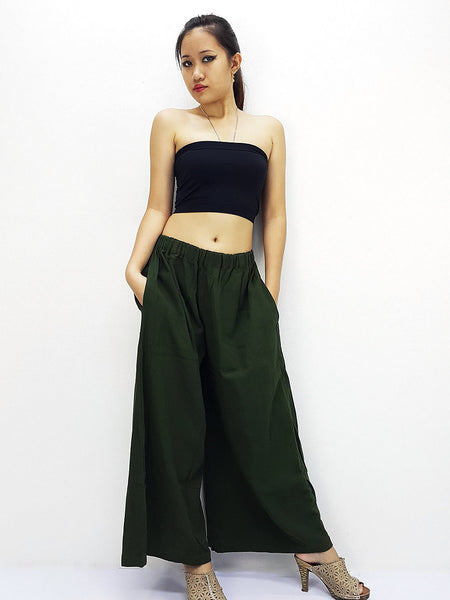 PT486 Natural Cotton Trousers Wide Leg Green, NaughtyGirl, HaremPantsThai