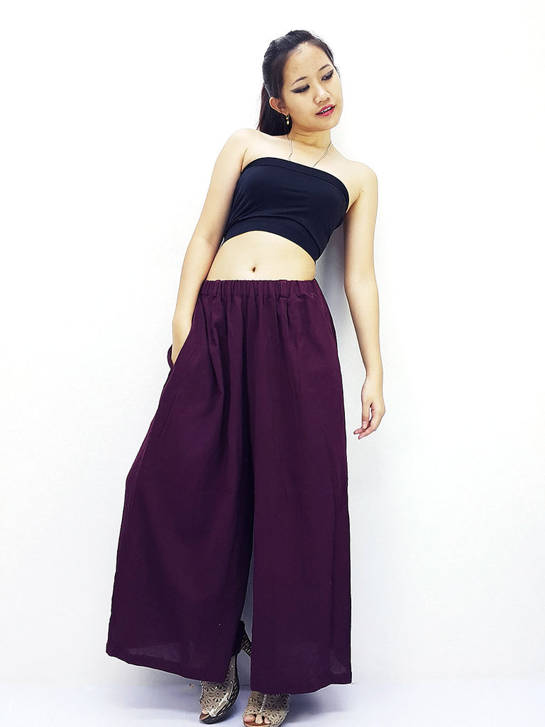 PT486 Thai Women Clothing Natural Cotton Trousers Comfy Luxury Wide Leg Amethyst