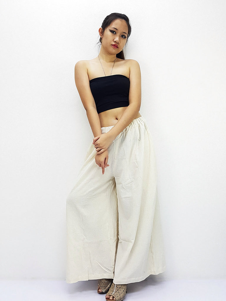 PT486 Thai Women Clothing Natural Cotton Trousers Comfy Luxury Wide Leg Cream