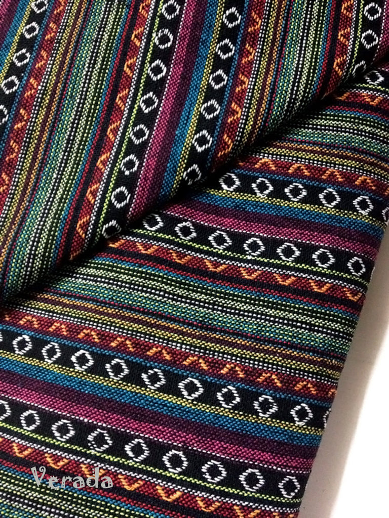 thai woven cotton fabric tribal fabric native fabric by the yard ethnic fabric aztec fabric craft supplies woven textile 1 2yard green wf4
