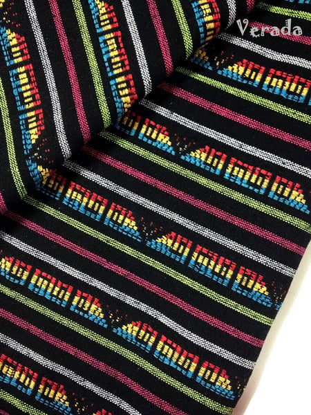 thai woven cotton fabric tribal fabric native fabric by the yard ethnic fabric aztec fabric craft supplies woven textile 1 2yard black wf5