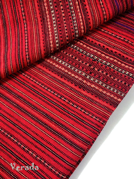 thai woven cotton fabric tribal fabric native fabric by the yard ethnic fabric aztec fabric craft supplies woven textile 1 2 yard red wf2