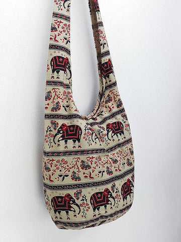 Cotton Handbags Elephant bag Hippie Hobo bag Boho bag Shoulder bag Sling bag Tote bag Crossbody bag Beige, VeradaShop, HaremPantsThai