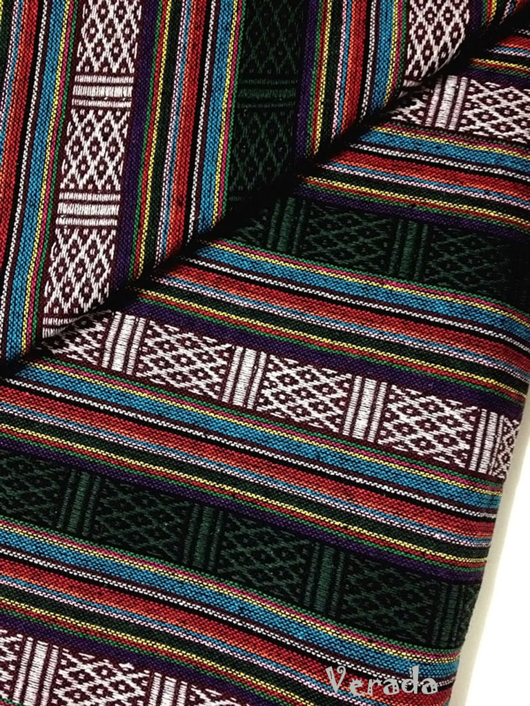 thai woven cotton fabric tribal fabric native fabric by the yard ethnic fabric aztec fabric craft supplies woven textile 1 2 yard wf15