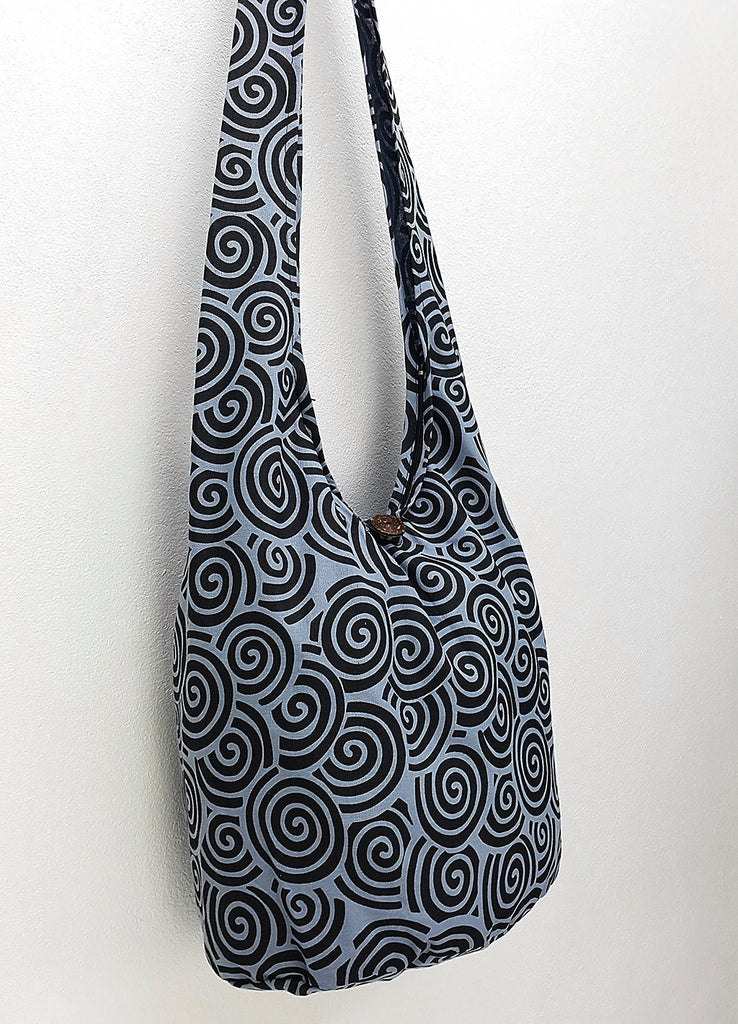 Cotton Handbags Hippie bag Hobo bag Boho bag Shoulder bag Sling bag Tote bag Crossbody Swirl Blue & Black, VeradaShop, HaremPantsThai