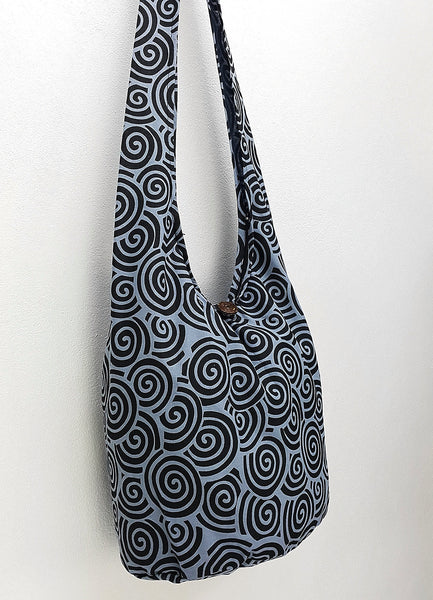Women bag Handbags Cotton bag Hippie bag Hobo bag Boho bag Shoulder bag Sling bag bag Tote bag Crossbody Purse Swirl Blue & Black
