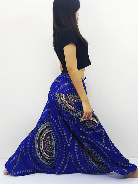 SRH@12 Handmade Harem Pants Rayon Bohemian Hippie Boho Pants Leaf Royal Blue