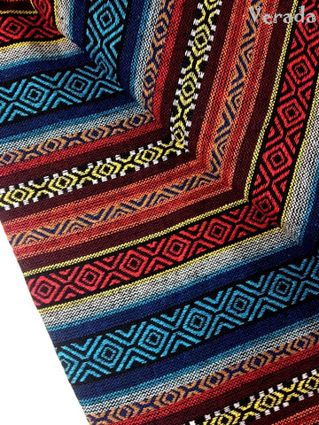 thai woven fabric tribal fabric native fabric by the yard ethnic fabric aztec fabric craft supplies woven textile 1 2 yard blue red wf18