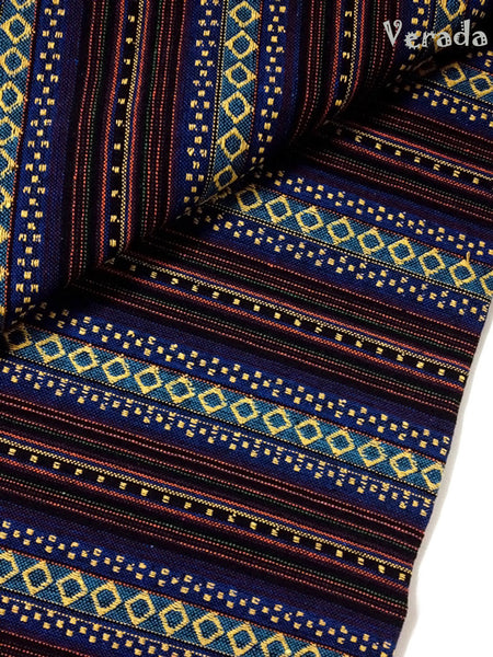 thai woven fabric tribal fabric native fabric by the yard ethnic fabric aztec fabric craft supplies woven textile 1 2 yard dark blue wf17
