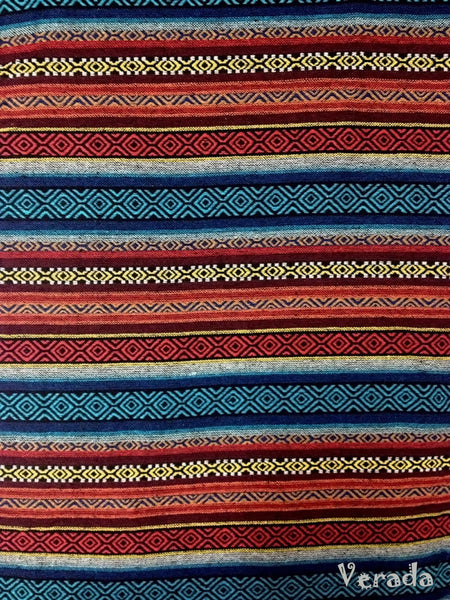 Thai Tribal Native Woven Fabric Textile 1/2 yard Blue Red (WF18), VeradaCraft, HaremPantsThai