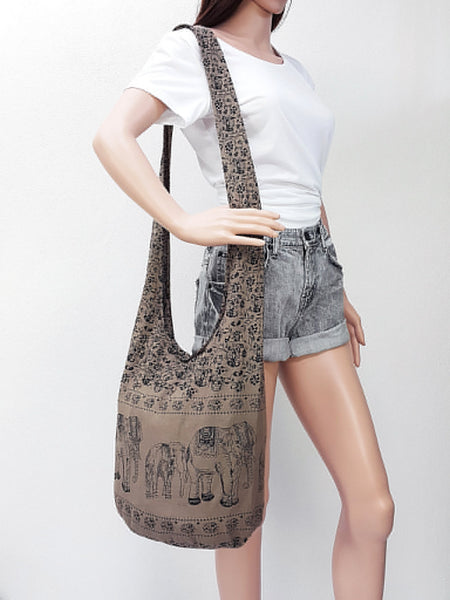 Cotton Handbags Elephant bag Hippie Hobo Boho bag Shoulder bag Sling bag Tote Crossbody bag Khaki Brown, VeradaShop, HaremPantsThai