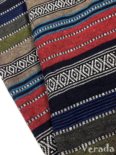 thai woven cotton fabric tribal fabric native fabric by the yard ethnic fabric aztec fabric craft supplies woven textile 1 2 yard wf32