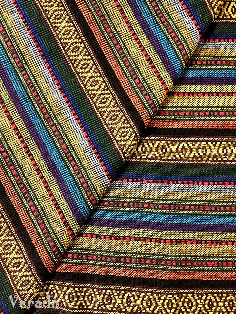 thai woven fabric tribal fabric native cotton fabric by the yard ethnic fabric craft fabric craft supplies woven textile 1 2 yard wf40