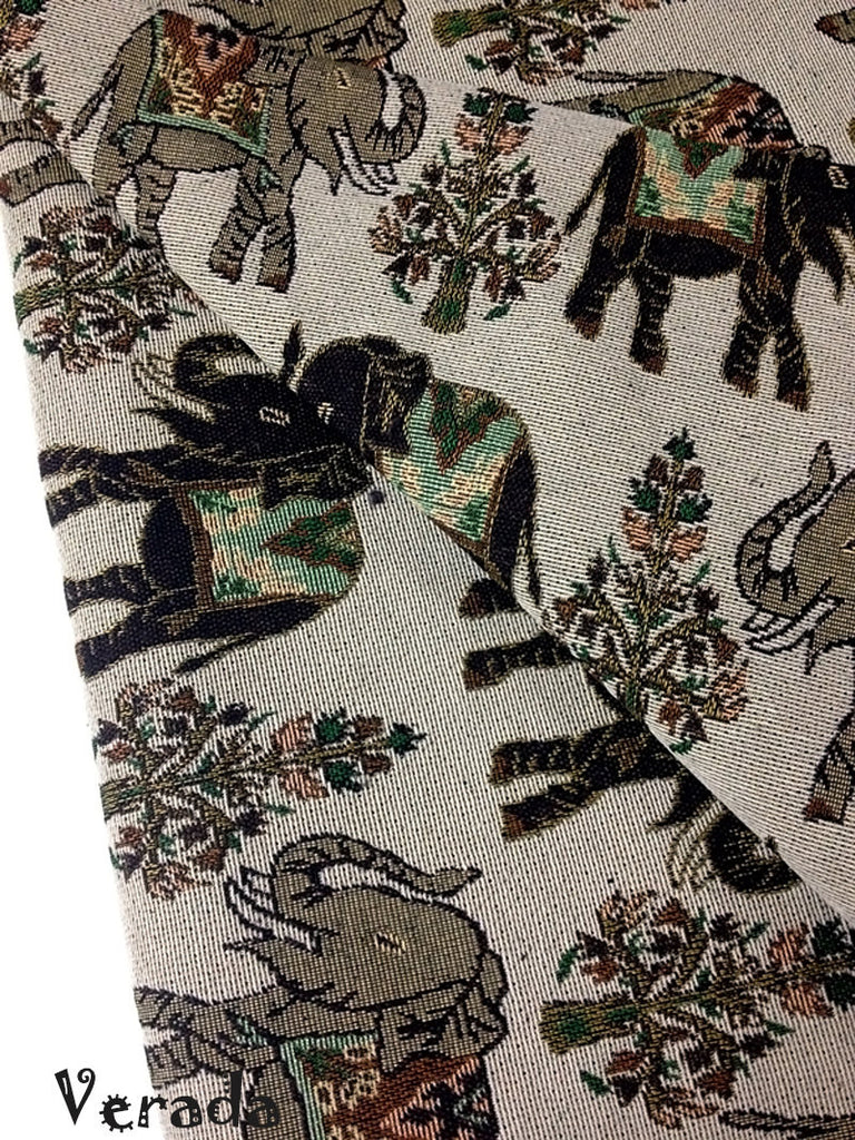 thai woven fabric tribal fabric cotton fabric by the yard ethnic fabric craft fabric craft supplies woven textile elephant 1 2 yard wf51