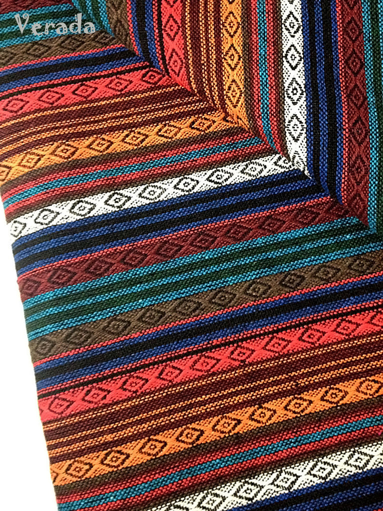 thai woven cotton fabric tribal fabric native fabric by the yard ethnic fabric aztec fabric craft supplies woven textile 1 2 yard wf55