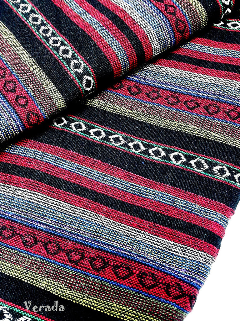 thai woven cotton fabric tribal fabric native fabric by the yard ethnic fabric aztec fabric craft supplies woven textile 1 2 yard red wf63