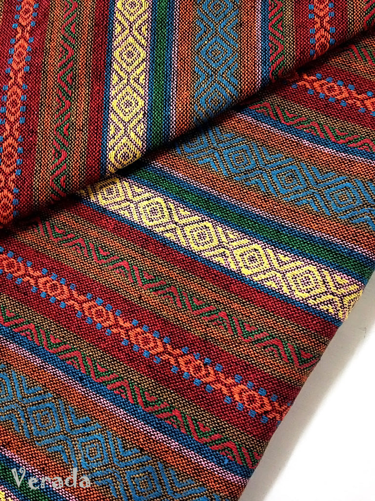 thai woven cotton fabric tribal fabric native fabric by the yard ethnic fabric aztec fabric craft supplies woven textile 1 2 yard wf64