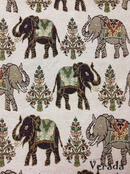 Thai Tribal Native Woven Fabric Cotton Textile Elephant 1/2 yard (WF51), VeradaCraft, HaremPantsThai