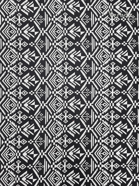 Thai Tribal Native Woven Fabric Textile 1/2 yard Black White(WF77), VeradaCraft, HaremPantsThai