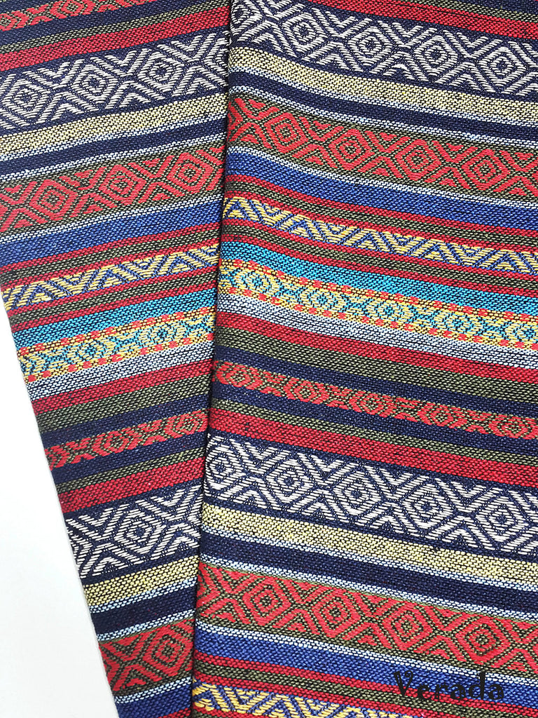 thai woven cotton fabric tribal fabric native fabric by the yard ethnic fabric aztec fabric craft supplies woven textile 1 2 yard wf82